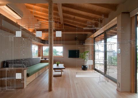 アオハダの家 全開木製サッシ