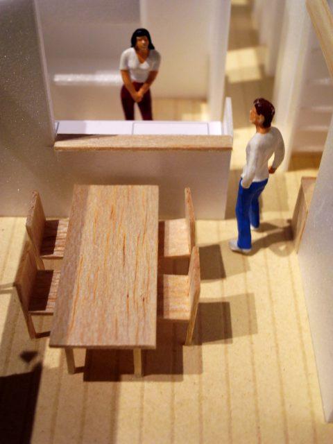 白子の家2回目模型キッチンダイニング