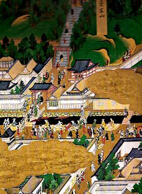江戸図屏風の愛宕神社の階段