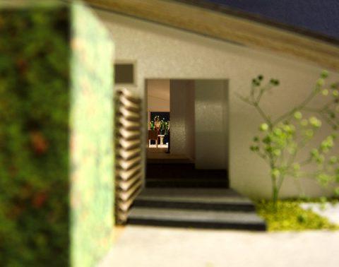 白子の家プレゼン案玄関から東のサッシ